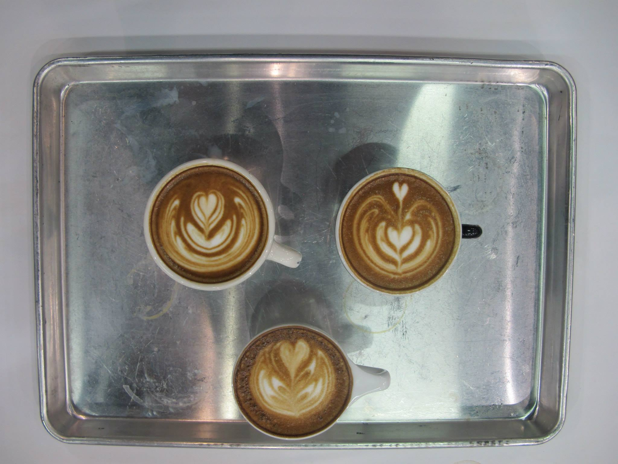 The final three pours for the Latte Art Championships