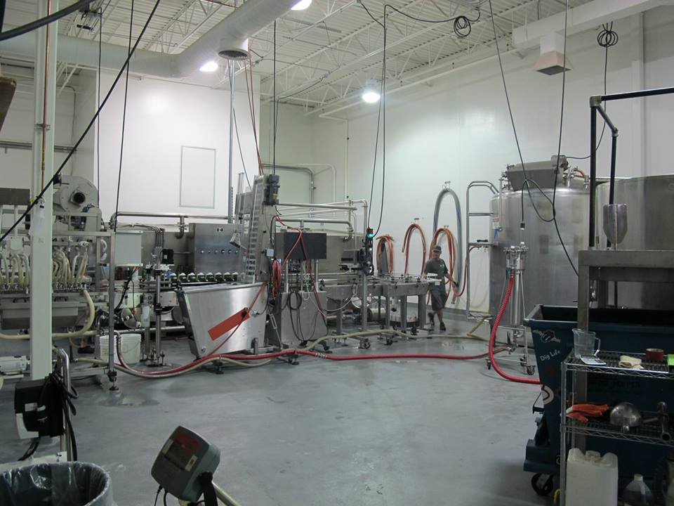 Brewing Kettle with the Production and Bottling Line