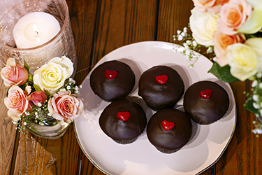 J Street Biscuit Co - Ganache Frosted Chocolate Crème Cake Muffins with Strawberry Filling