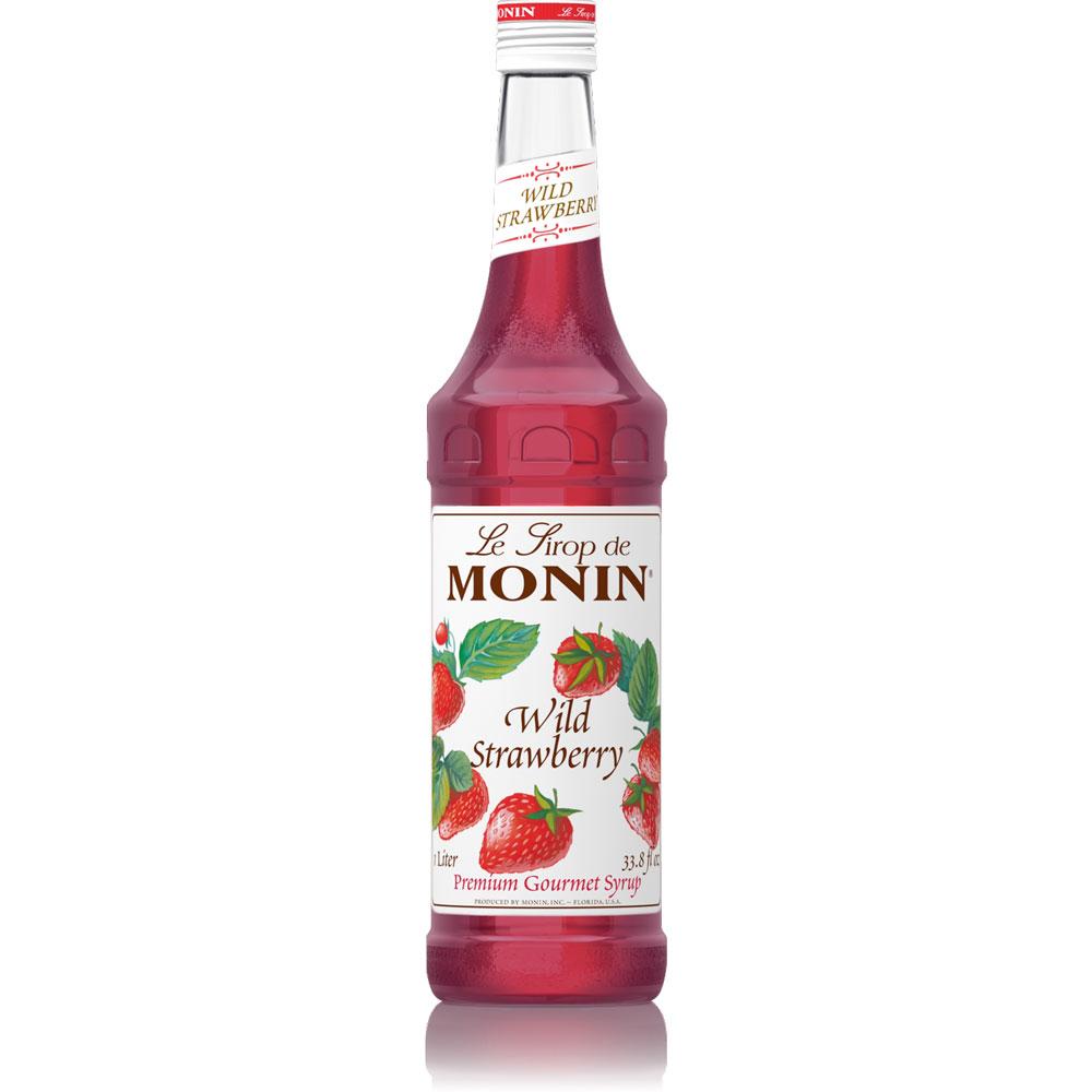 Monin Wild Strawberry Syrup - 1 Liter Bottle(s): BaristaProShop.com