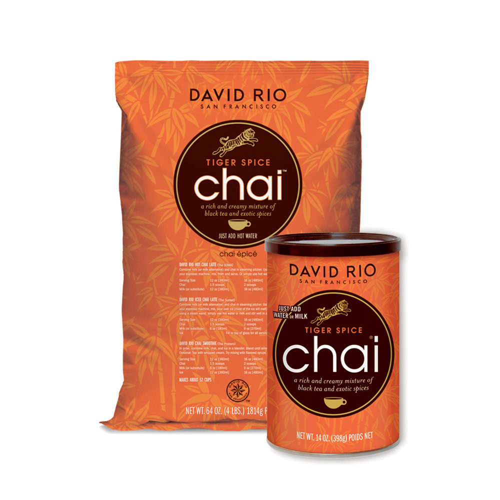 David Rio Tiger Spice Chai - 14 oz. Can(s), 4 lb. Bag(s): BaristaProShop.com