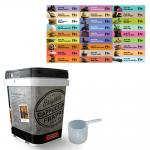 Cappuccine Tub Kit(s) for 70 cc Scoop Products (includes tub, lid, scoop and label) | Please see product description for a list of associated flavors
